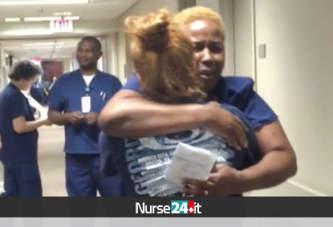 Dopo la paralisi, torna a camminare e fa una sorpresa alla sua infermiera