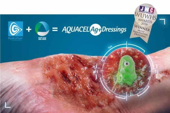AQUACEL Ag+ Extra medicazione avanzata antimicrobica e antibiofilm in Tecnologia Hydrofiber®